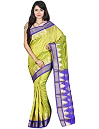 Indian Silks Temple Design Women's Kanjivaram Handloom Pure Silk Saree, With Unstitched Blouse Piece(Light Green)