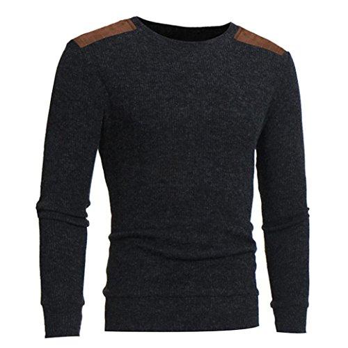 ❤️Homme Dessus de cou rond de mode Patchwork hommes chandails Tops blouse, Amlaiworld Veste Homme Sweatshirt Blouson❤️ (M, Gris)