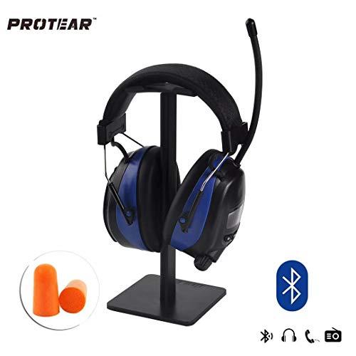 PROTEAR Wiederaufladbare Gehörschutz mit Radio FM/AM,Bluetooth,Eingebautem Mikrofon,für Industrie,Bau und Mähen Lärmreduzierung SNR 30dB - Abs 4-steuerelemente