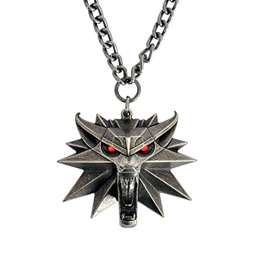 Witcher 3 Kette Wild Hunt medallón con ojos LED metal