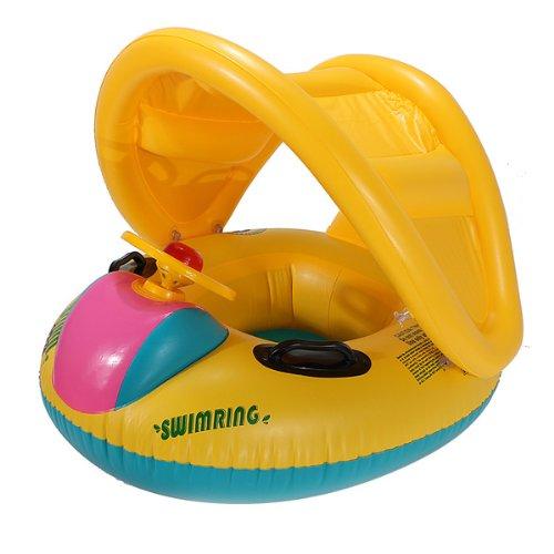 Einstellbare Sonnenschirm Baby-Schwimmen Schwimmer Sitz Boot Aufblasbarer Ring