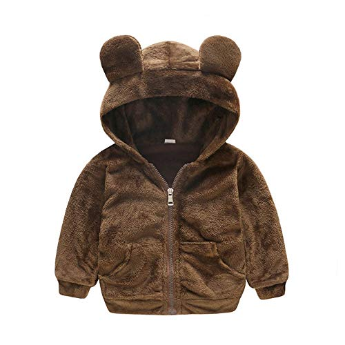 FeiliandaJJ Baby Mantel,Toddler Kinder Mädchen Junge Winter Einfarbig Fleece mit Kapuze Outwear Jacken Kids Karikatur Ohr Coat Warme Kleidung 1~3 Jahre alt (110 (2~3 Jahr alt), Braun) (Jacken Für Alt 1 Jahr)