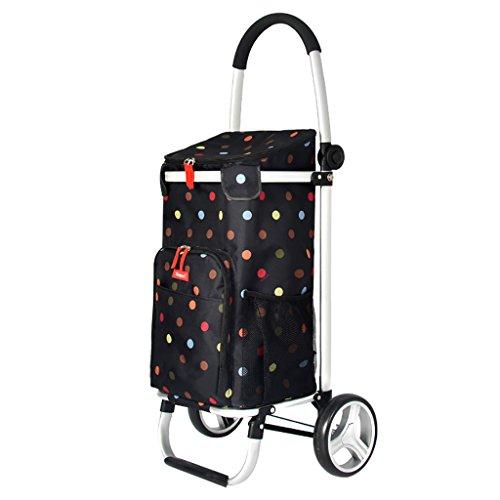 CZ-wyf Leichter Einkaufswagen-Klappanhänger, tragbarer Klettertreppen-Push-Pull-Wagen, Isolierung, große Kapazität, schwarz (Color : Dots) -