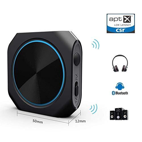 Zoweetek AptX Low Latency 2-en-1 Récepteur et Transmetteur Bluetooth 4.1 Stéréo sans Fil pour Toute Source Audio, Enceintes, Casques Audio, TV