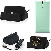 Base de carga para Sony Xperia C5 Ultra Micro USB cargador suporto estación de acomplamiento mesa, negro - K-S-Trade (TM)
