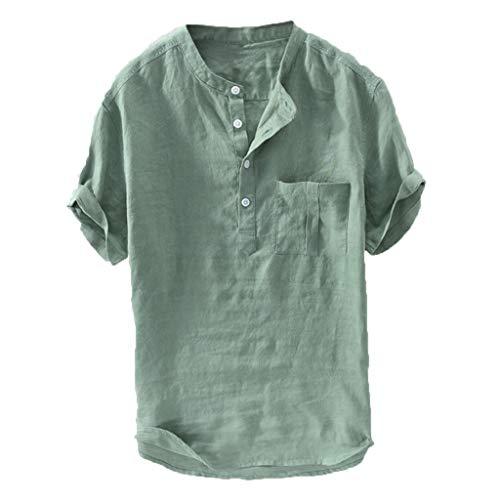FiveFeed Herren Sommer T-Shirt Baumwolle Leinen Thai Hippie Hemd V-Ausschnitt Strand Yoga Oben Bluse Henley Freizeithemd Kurzarm Regular Fit Kragenloses Shirt
