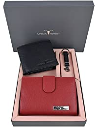 Urban Forest Seth Red/Black Leather Wallet Combo Set For Women And Men