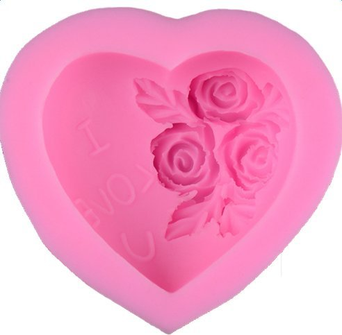 Leisial I LOVE YOU Rose Pattern Mould Silicone Soap Fondant Sugarcraft Cookie Cutter Mold Pastry Biscuit Baking Stamp Silicone Mini Moulds Handmade Bakeware Tool for Cake Decorating Mould Tools DIY Sugar Craft Valentines Day Birthday(Pink)