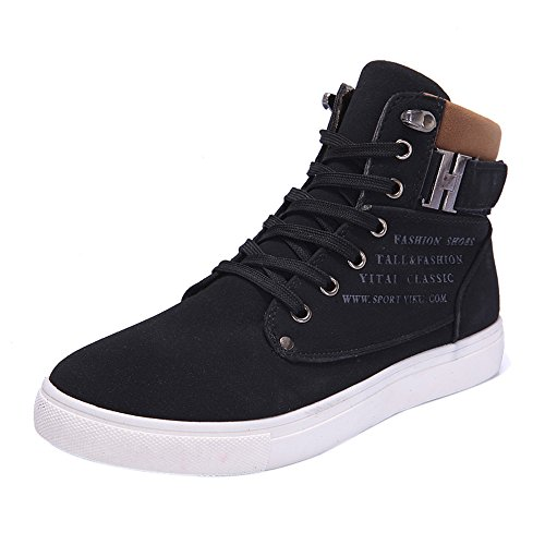 iHENGH Shoes Men Outdoor Lace-Up Breathable Sneakers Francesina Pantofola Vintage Rete Scarpe Uomo Running Sport Respirante Pu Scarpa Ginnastica Ragazzo Moda Casual Estate(Nero,46)