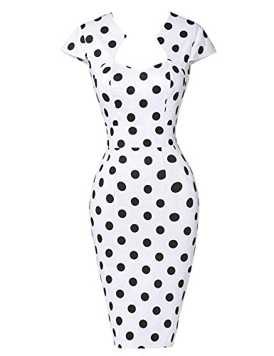 robe-vintage-blanche-a-pois-noirs-a-mancherons-robe-retro-taille-m-yf07597-1
