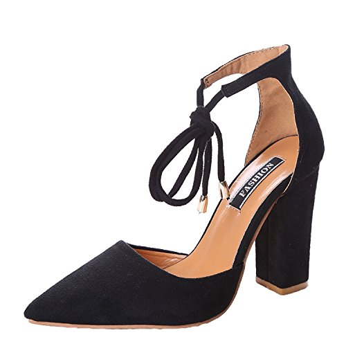 Minetom Donna Estate Scarpe Col Tacco Stiletto Elegante Cinturino Caviglia Tacco Alto Pompe Partito Sandali Con Lacci Nero EU 37