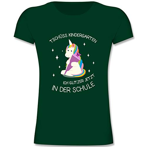 Einschulung - Einschulung Einhorn Tschüss Kindergarten - 128 (7-8 Jahre) - Gelb - F288K - Mädchen T-Shirt