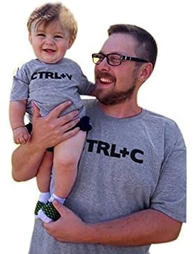 Ularma Emparejando la camiseta para la familia padre Ctrl + c niños Ctrl + v manga corta letra impresión camisa...
