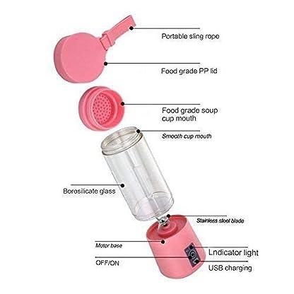 AUFELL-Persnlicher-Mixer-Tragbarer-Saftpresse-Elektrischer-Fruchtmixer-Mini-Blender-Smoothie-Maker-Mixer-USB-Saftmixer-Wiederaufladbar-6-Klingen-in-3D-fr-Hervorragende-Mischung-380-ML-Rosa