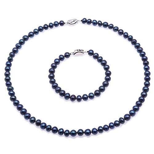 JYX suesswasser perlenkette Perlen Damen Schmuck Set - 7-8mm Flache Runde Süßwasser Perlenkette und Armband Set - (Pfau-Blau) (Perlen-schmuck-set)