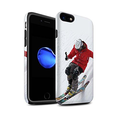 STUFF4 Matte Harten Stoßfest Hülle / Case für Apple iPhone 8 / Corduroy Spuren Muster / Skifahren/Snowboard Kollektion Steil Steigung