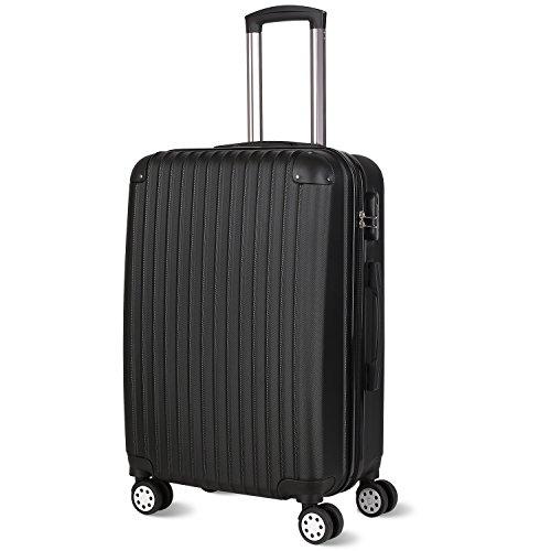 24' Single (PRASACCO Reisekoffer Handgepäck Für Flug Hartschalen Koffer Trolley Ultraleicht ABS Anti-Kratzer Erweiterbar 4 Rollen (Matt Schwarz, 67x42x27cm))