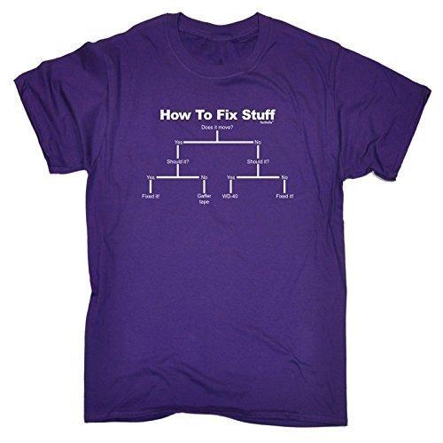 123t Men's HOW TO FIX STUFF funny T-SHIRT