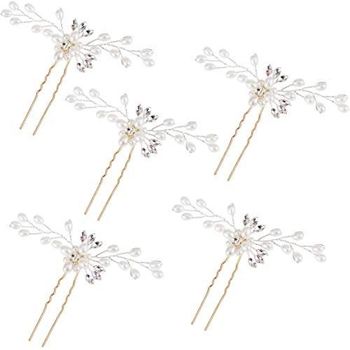 Fermagli per capelli da sposa,5 pezzi perla strass clip capelli fascia sposa per capelli accessori per capelli da sposa per la festa nuziale gioielli
