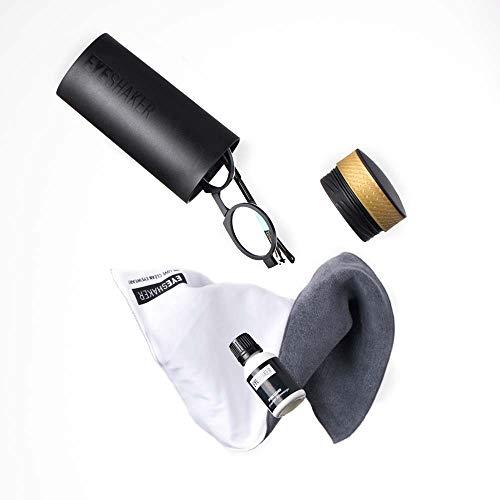 EYESHAKER Set - Patentiertes Brillenreinigungsgerät im Komplettpaket mit EYE-SHAKER, Spezialreiniger und Mikrofaser Brillenputztuch - Innovative Brillenreinigung wie vom Optiker für Gläser und Gestell Glas-shaker Set