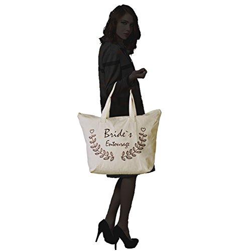 ElegantPark Birde Naturale Tela 100% Cotone Cerniera Lampo Tote donne della spalla Mid borsa Sposa Bride`s Entourage X 1