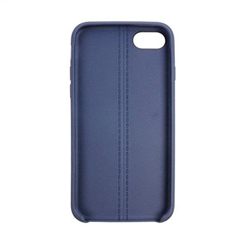 GHC Cases & Covers, Für iPhone 7 Central Double Line Glatte Oberfläche Soft TPU Schutzhülle ( Color : Black ) Dark blue