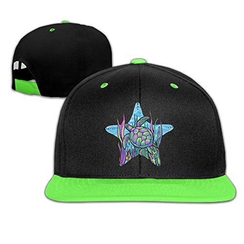 (Fashion Home_UK Kids Girls Sea Turtle Baseball Cap Hats Trucker Hiphop Cap Hats Kellygreen)