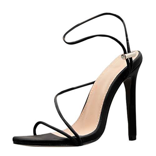 Farbe Spitze Zehe dünne Sandalen Schuhe mit hohem Absatz Slingback Sandalen Mädchen böhmischen Mode Flache Damen Sommer Mode Leder Sandalen Wedges Komfort Große Größe Schuhe ()