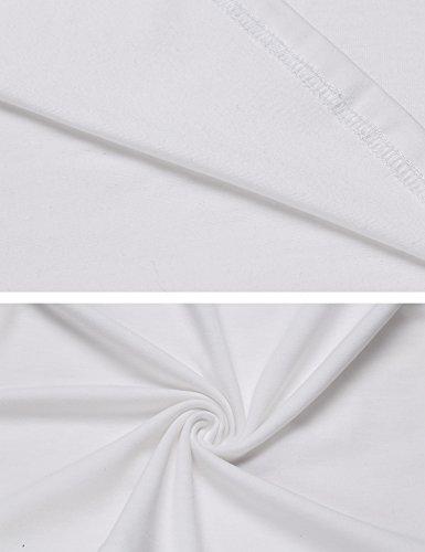 Trudge Damen Kurzarm T-Shirts Spitze U-Ausschnitt Keyhole Top Kurzarmshirt (a)Weiß