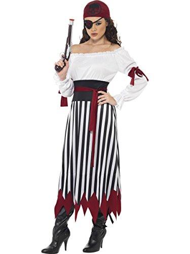 Piraten Kostüm für Damen inklusiv Kleid, Pistole und Augenklappe Karneval Fasching