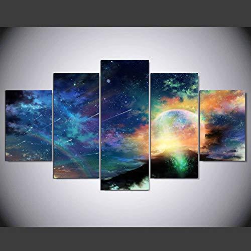 Ughjb pittura ad olio su tela hd, decorazione di stampa, pioggia di meteore a cinque maglie, senza scatola con cornice.