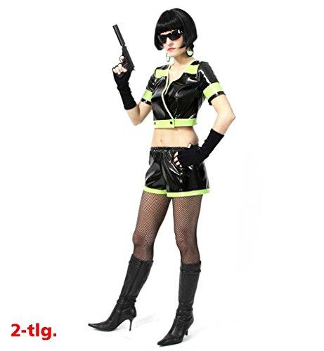 nkostüm Lucky 2-tlg. Oberteil und Hose lack-optik schwarz-neongelb Spion-Kostüm für Erwachsene (Spion Kostüme Für Erwachsene)