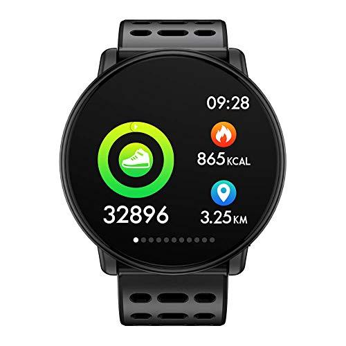 Azorex SmartWatch Multifunción Reloj Inteligente Redondo Deportivo Impermeable IP67, Pulsera Actividad Control Remoto para iPhone Xiaomi, Huawei Samsung Correa Silicona Negro Q88