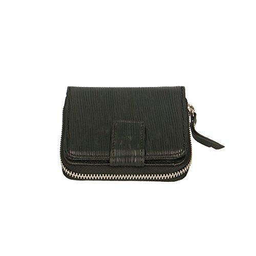 Chicca Borse Portafogli in pelle 11x10x3 100% Genuine Leather Nero