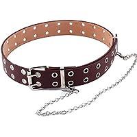 JIER Liquidación del Solo de la Correa de Cuero PU Hollow Punk Remaches cinturón Ajustable Cinturón de Diente único Hebilla del cinturón para la Mujer