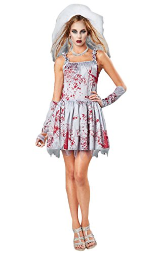 Braut Kostüm Ghost - ShallGood Damen Rotkäppchen Halloween Weihnachten Performance Kleid Hoodie Schal Kostüm Pirat Hexe Cosplay Dress Kleid Passt Set Zombie Ghost Kleid Dress Gespenst Braut One Size (De 34-40)