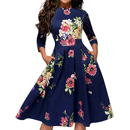 ingetroffen Damen Elegent Abendgesellschaft Kleid,Frauen Sommer Casual A Linie Vintage Prom Swing Kleid Druck Kleider Frau Party Night Plus Size Strand Sommerkleid ()