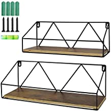 Umi. Essentials Floating Wall Shelves Set of 2 Rustic Wooden Storage Shelf for Bathroom Living Room Kitchen