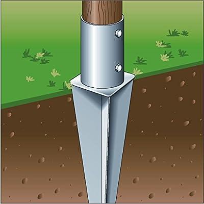 Einschlag-Bodenhülse für Rundholzpfosten, feuerverzinkt