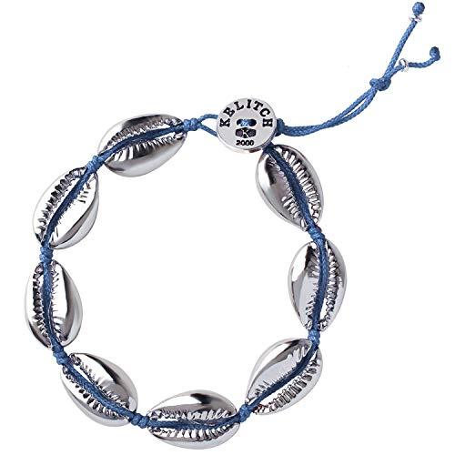 KELITCH Armbänder für Frauen Männer Bunte Metall Conch Bead Einstellbare Handmade String Bangle Freundschaft Charme Armband für Mädchen - Blau 2G