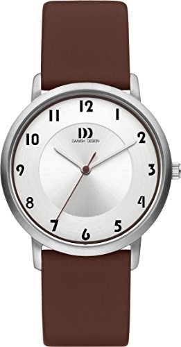 Danish Design Women's Quartz Watch with White Dial Analogue Display and Brown Leather Strap DZ120422