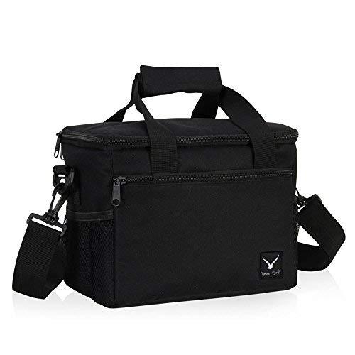 Veevan 7 Liter Isolierte Kühltasche Kühlbox Lunch Bag Mittagessen Tasche für 1 Person Schwarz (Lunch Bag-teams)