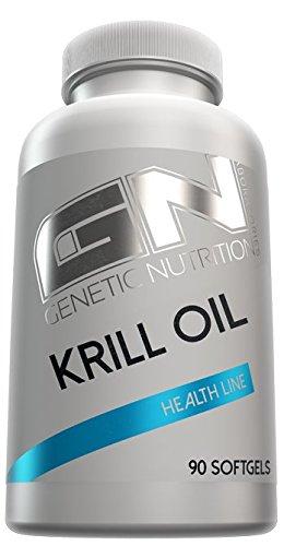 GENETIC NUTRITION LABORATORIES Krill Oil Health Line Omega 3 Fettsäuren Unterstützt Konzentration- Und Leistungsfähigkeit 90 Softgel Kapseln -