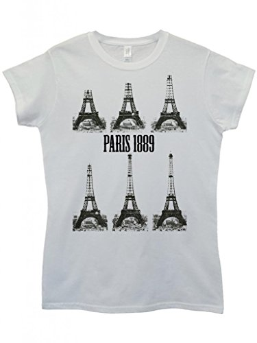 Paris Eiffel Tower 1889 Retro Funny Hipster Swag White Weiß Damen Women Top T-Shirt Weiß