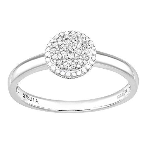 Naava Damen-Ring 9 Karat 375 Weißgold Rundschliff weiß Diamant PR12336WJ