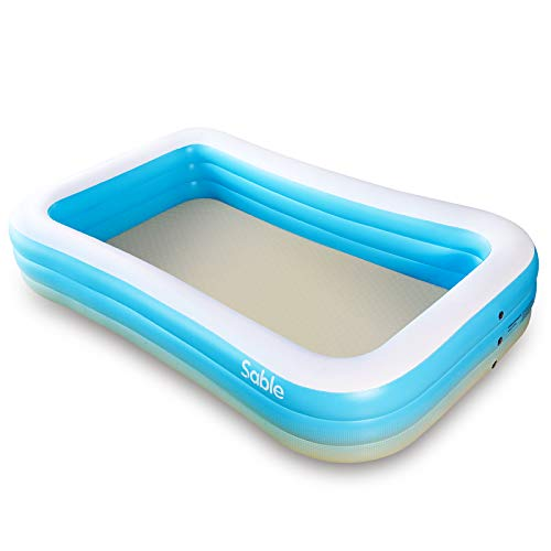 Sable Aufblasbarer Pool, 300 x 184 x 51cm Rechteckiges Schwimmbecken für Familie, Übererdig, Garten, Outdoor (Blau)