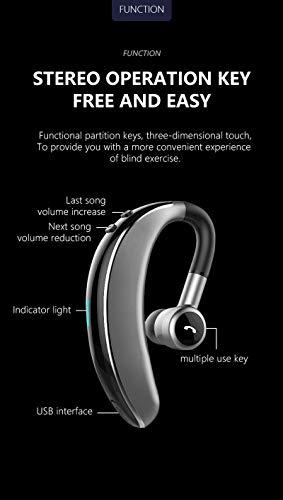 0 Kabellose Ohrhörer dreifach geräuschunterdrückend schweißfest Stereo Ergonomie In-Ear Mikrofon Headset Hi-Fi für Sport, Laufen, Workout DJ Schwarz ()