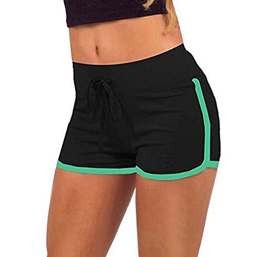 EXIU Women Casual Loose Cotton Elastic Waist Yoga Sports Running Short pants