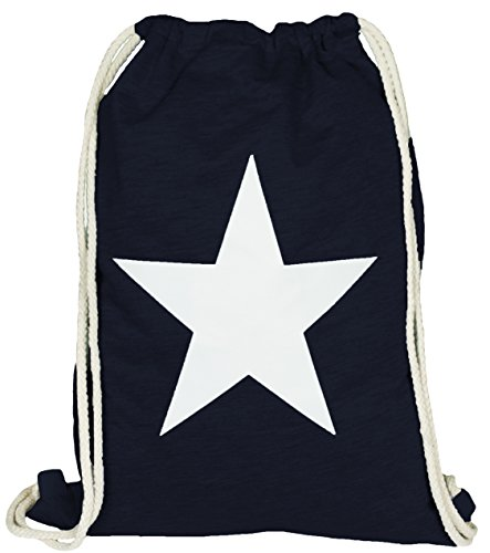 Mevina Turnbeutel Hipster Sportbeutel Stern Weekday Jutebeutel Gymbag Kordel Beutel Print Rucksack Stern Navy A1240 (Navy Sterne)
