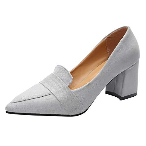Felicove Damen Pumps, Flache Mundpumpen Stöckelschuhe Einzelne Schuhe Dicke Absätze (Fersenlänge 5cm-8cm), EU 35-39